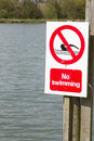 No swimming sign at edge of lake Royalty Free Stock Photos