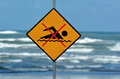 No swimming sign new zealand sea warning at the beach with man swim and not symbol caution allowed concept conceptual Stock Photography
