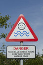 No swimming sign warning against due to health risks from toxic blue green algae Royalty Free Stock Image