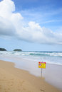No swimming warning in beach in karon phuket Royalty Free Stock Image