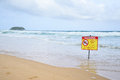 No swimming warning in beach in karon phuket Stock Photography