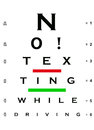 No! Texting While Driving Eye Chart Royalty Free Stock Images