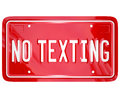 No texting license plate warning danger text message a red vanity with the words to illustrate a about the dangers of messaging Royalty Free Stock Image