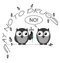 No to drugs monochrome say twig text isolated on white background Royalty Free Stock Image