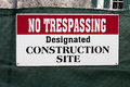 No trespassing construction site sign on Royalty Free Stock Photo
