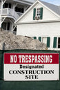 No trespassing construction site sign on Stock Photos