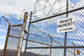 No Trespassing Sign on Fence Royalty Free Stock Photo
