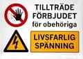 No trespassing swedish warning sign saying life threatening voltage Royalty Free Stock Images