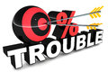 No trouble concept with zero percent on white and arrow hitting the spherical zero Stock Photos