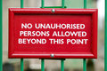 No unauthorised persons Royalty Free Stock Photo
