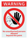 No unauthorised persons allowed sign isolated Royalty Free Stock Photo
