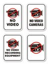 No video cameras signs suitable for warning sign Stock Photo
