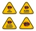 No video cameras signs triangle signs suitable for warning sign Royalty Free Stock Images