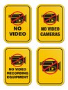 No video yellow signs suitable for warning sign Stock Photo