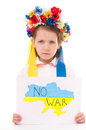 No war ukrainian little girl holding map of ukraine with anti protest sign isolated over white Stock Photos