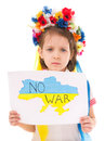 No war ukrainian sad kid holding map of ukraine with anti protest sign isolated over white Stock Photography
