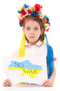 No war ukrainian sad kid holding map of ukraine with anti protest sign isolated over white Royalty Free Stock Photo