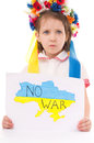 No war ukrainian sad kid holding map of ukraine with anti protest sign isolated over white Royalty Free Stock Images