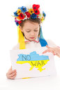 No war ukrainian sad kid holding map of ukraine with anti protest sign isolated over white Stock Photo