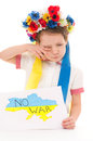 No war ukrainian sad kid holding map of ukraine with anti protest sign isolated over white Stock Images