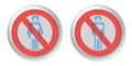 No woman no man button isolated on a white background Stock Photography