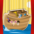 Noah ark cartoon illustration designed as a stage for kid s play Stock Images