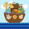 Noah`s ark full of animals aboard