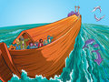 Noah s ark on the sea Stock Image