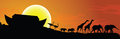 Noahs ark and sunset in background,
