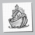 Noahs Ark Line Drawing. Picture for tourism