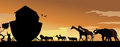 Noahs ark at sunset with animals boarding Stock Photo