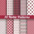 Noble elegant vector seamless patterns tiling retro red black and white colors endless texture can be used for printing onto Royalty Free Stock Photography