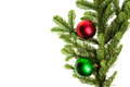 Noble fir bough with red and green ornaments isolated Royalty Free Stock Images