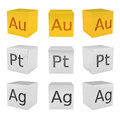 Noble metal cubes, gold, silver, platinum Royalty Free Stock Photo