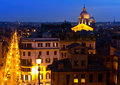 Noc odgórny widok na mieście rzym italy night miasta krajobraz Zdjęcia Stock