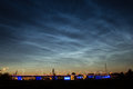 Noctilucent clouds and nightly bridge Stock Image