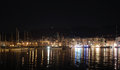 Nocturnal view of toulon aspect french riviera with alpes in the background Royalty Free Stock Photo