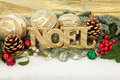 Noel christmas sign with gold bauble decorations holly and winter greenery over snow background Stock Images