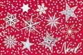 Noel Sign with Star and Snowflake Decorations Royalty Free Stock Photo