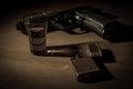 Noir desk gun schotch vintage lighter Royalty Free Stock Images