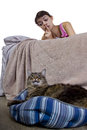 Noisy house cat girl unable to sleep because of pet Royalty Free Stock Photos