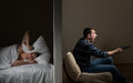Noisy neighbor man at night cant fall asleep because of the Stock Photos