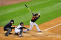 Nolan reimold baltimore orioles playing against new york yankees swings a strike Royalty Free Stock Images