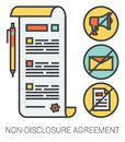 Non-disclosure agreement line icons.