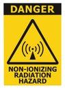 Non-ionizing radiation hazard safety area, danger warning text sign sticker label, large icon signage, isolated black triangle Royalty Free Stock Photo