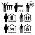 Non profit social service responsibilities volunte this is a set of pictograms representing volunteers for such as old folk homes Stock Photos