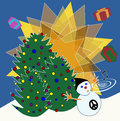 Non religious christmas card snowman blows music and gifts around tree trees full of colorfull balls on the background the bright Royalty Free Stock Photography