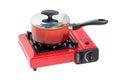 Non-Stick Pot on Portable Gas Stove. Royalty Free Stock Photo