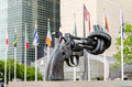 Non violence sculpture at un new york may the united nations headquarters in may the in new york new york a gun tied in a knot as Stock Photos