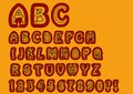 Nonconformist bizarre alphabet. Original font set with doodle elements, uppercase characters and numbers, question mark Royalty Free Stock Photo